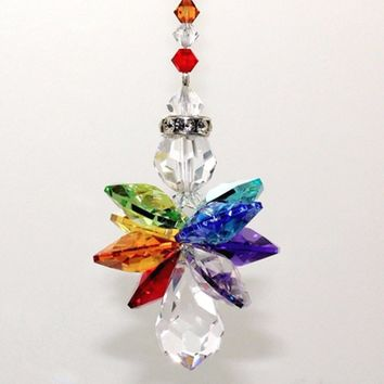 1PC Crystal Colorful Guardian Angel Suncatcher  Charms Car Charm Ornament