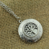 the tree of life silver locket neclace Antique personalized jewelry steampunk Unique gift vintage bronze