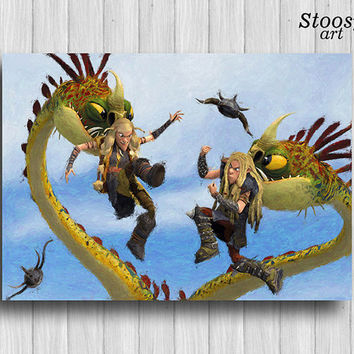 Ruffnut and Tuffnut and Barf and Belch print how to train your dragon poster