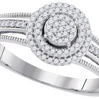 10kt White Gold Womens Diamond Concentric Cluster Bridal Wedding Engagement Ring 1/5 Cttw 99434