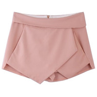 ROMWE | Asymmetric Geometric Pink Shorts, The Latest Street Fashion
