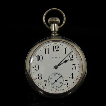 1917 Elgin POCKET WATCH Open Back See Works Moving - Grade 291 16S