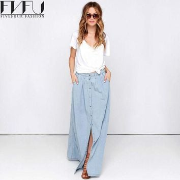 New Fashion 2017 Spring Skirt Women Single Breasted Denim Maxi Skirt Casual Summer Style High Waist Long Skirt Plus Size