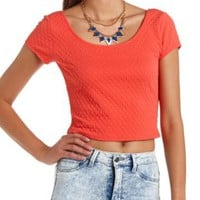 Textured Short Sleeve Crop Top by Charlotte Russe