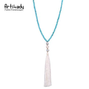 Artilady blue stone beads necklace vintage indian jewelry long chain tassel necklace for women wedding jewelry