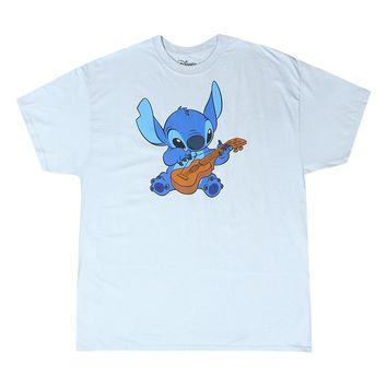 Disney Lilo & Stitch, Full Color Stitch Playing the Ukulele Men's Blue T-shirt