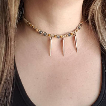 Hemp Choker, Spike Necklace, Czech Glass Beads, Copper Spike Choker, Hemp Choker Necklace, Choker Necklace, Gift, Handmade, Hemp Necklace