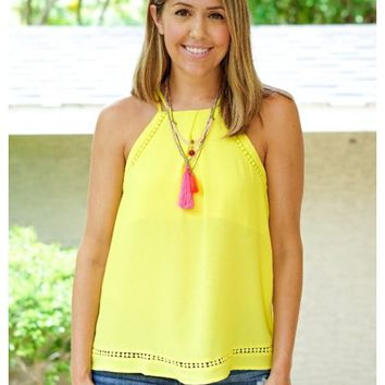 Yellow spaghetti strap woven top | Abigail | escloset.com