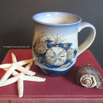 Vintage Nautical Theme Stoneware Coffee Cup / Mug, Hand Painted Seashell Mug
