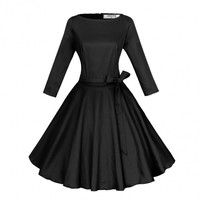 Stylish Women's O Neck 3/4 Sleeve Pleated Rockabilly Dress