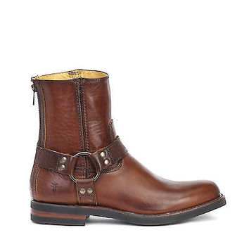Frye Mens Clinton Harness Back Zip Boots Cognac Leather 88040