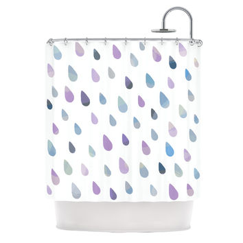 "Daisy Beatrice ""Opal Drops - Mist"" Purple White Shower Curtain"