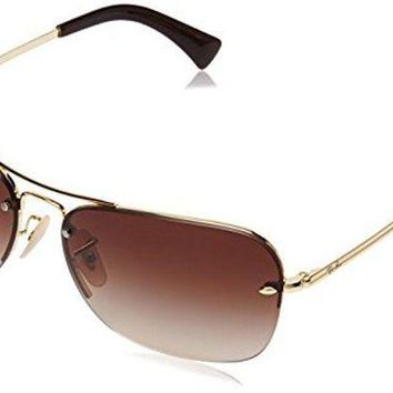 Gotopfashion Ray-Ban METAL MAN SUNGLASS - GOLD Frame BROWN GRADIENT Lenses 61mm Non-Polarized