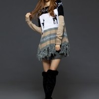 Japanese Fashion Sweet Tassel Junior Sweaters Grey : Wholesaleclothing4u.com