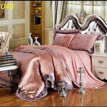Luxury 4pc. Jacquard Satin Peach King Size 100% Cotton Duvet Cover Bedding Set