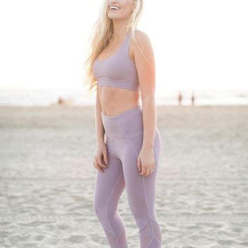 Jodie Active Lavender Mesh Detail Leggings