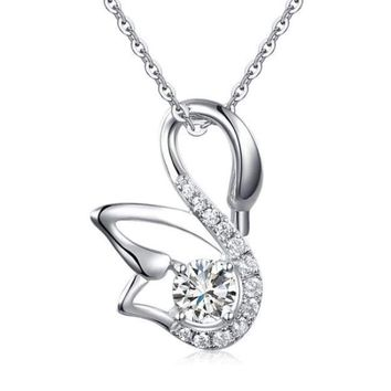 Swan Pendant Necklace Solid 925 Sterling Silver Simulated Diamond