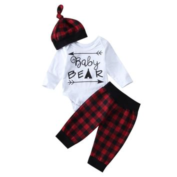 Red Plaid Christmas Infant Baby Girls Bear Romper Pants Leggings 3Pcs Baby Set Clothing