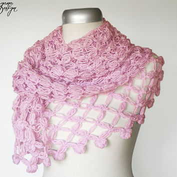 Crochet Solomons knot soft pastel pink scarf lace wrap shawl