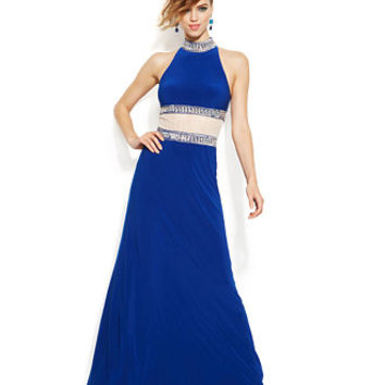 Joanna Chen Embellished Faux Two-Piece Gown