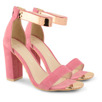 Womens Strappy Peep Toe Shoes Chunky High Heel Ankle Cuff Strap Sandals Size UK