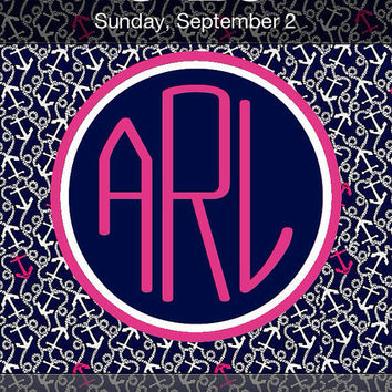 Lilly Pulitzer Inspired Personalized Monogram iPhone Background -- Ahoy There --