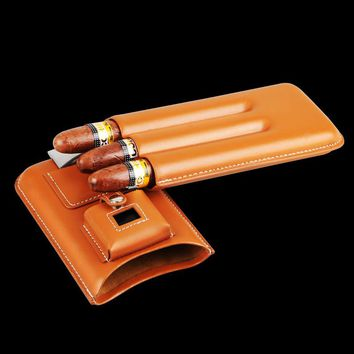High-end Solid Nubuck Gadget Excellent Brown Leather with Lighter&Cutter Portable 3 Holder Cigar Case Cigar Tube W/  Gift Box