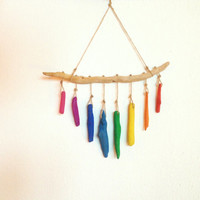 Chakra harmony driftwood wallhanging,  colortheraphy home decor, nursery, boho home