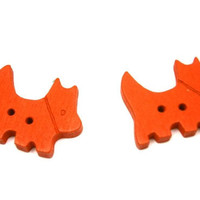 Cherry Red Scottie Dog Kids Buttons Wooden 20mm 8 Pack