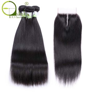 Sterly Hair Straight Hair Bundles With Closure Non-Remy Human Hair Bundles With Closure Peruvian Hair Bundles With Closure