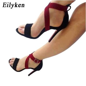 Eilyken 2018 New Sexy Women Sandals Pumps Open Toe Buckle Strap Sandals Women Stiletto Party Wedding Shoes size 35-40