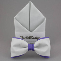 Gray Matching Set Gray Purple Bow Tie Gray Pocket Square Gray Bow Tie Gift for Men Wedding Bow Ties Violet BowTie Groomsmen Bow Ties for Him