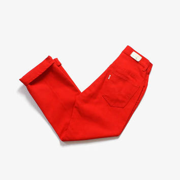 Vintage 60s LEVI'S Red Jeans / 1960s High Waist Red Cotton Rockabilly Cropped Capri Pants XS Unworn New Old Stock