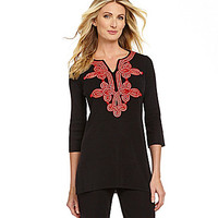 Misook Soutache Tunic - Black/Red