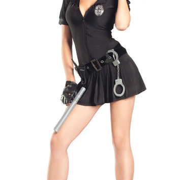 Black Notched Collar Drop Waisted Dress Police Woman Costume