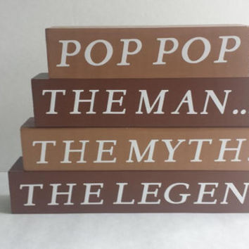 ON SALE NOW!  Ready To Ship! Pop Pop The Man The Myth The Legend - Wood/Vinyl Blocks/Small Stacker