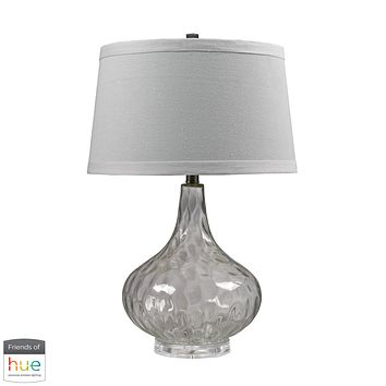 Clear Water Glass Table Lamp with White Linen Shade - with Philips Hue LED Bulb/Bridge