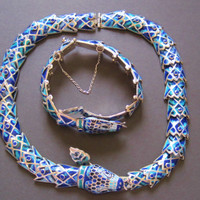 Mexican Sterling Margot De Taxco Enamel Snake Necklace Bracelet Set