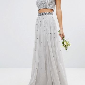 Maya Petite Sequin And Tulle Maxi Skirt at asos.com