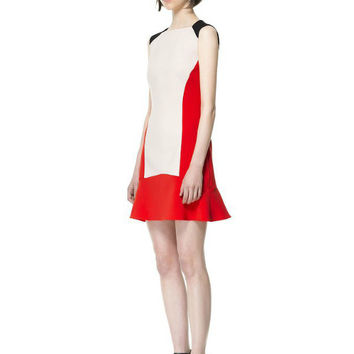 Color Block Sleeveless Cut-Out Back Drop Waist Mini Dress