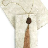 No Hassle Tassel Necklace in Brown
