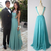 Cheap A line Backless Chiffon Prom Dresses, Chiffon Bridesmaid Dresses, Wedding Party Dresses, Prom Gown