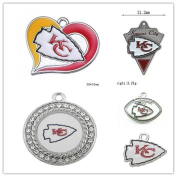 Mix 6 Styles Enamel Football Team Kansas City Chiefs Dangle Charms Pendant For DIY Bracelet&Necklace Earrings Jewelry 20pcs/lot