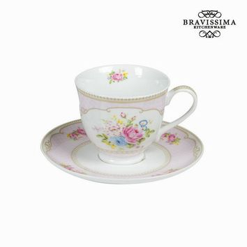 Tea cup with pink bouquet plate - Kitchen's Deco Collection by Bravissima Kitchen