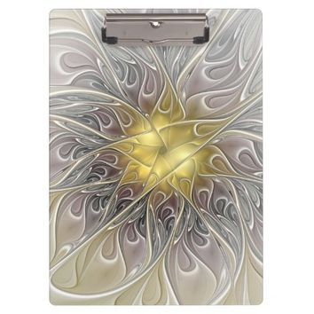 Flourish With Gold Modern Abstract Fractal Flower Clipboard