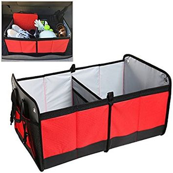 Red Lightweight Foldable Multi Compartment Fabric Car / Truck / Van / SUV Storage Basket, Trunk Organizer – MyGift®