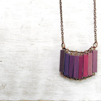 Wood Geometric Necklace // LOVERS IN JAPAN // Boho-Chic Jewelry // Hand-Painted Necklace // Minimal Jewelry // Modern Necklaces