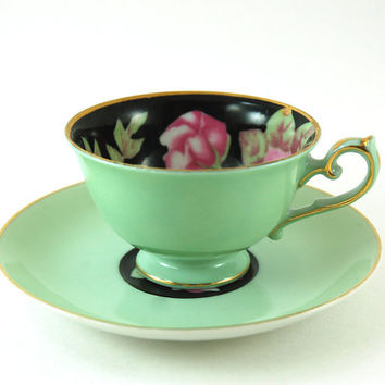Vintage Made in Occupied Japan Demitasse Teacup and Saucer, Chugai China, Pastel Mint Green, Black with Roses Inside Cup