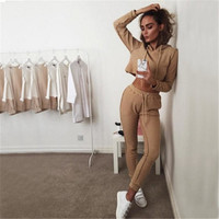 SIMPLE - Two Piece Women Casual Hooded Solid Sweatshirt Suit and Long Pants Outfit a13057