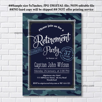 Military Retirement Party, Army Retirement Invitations, Army party, Retirement party Invitation, Retirement Celebration - card 1075